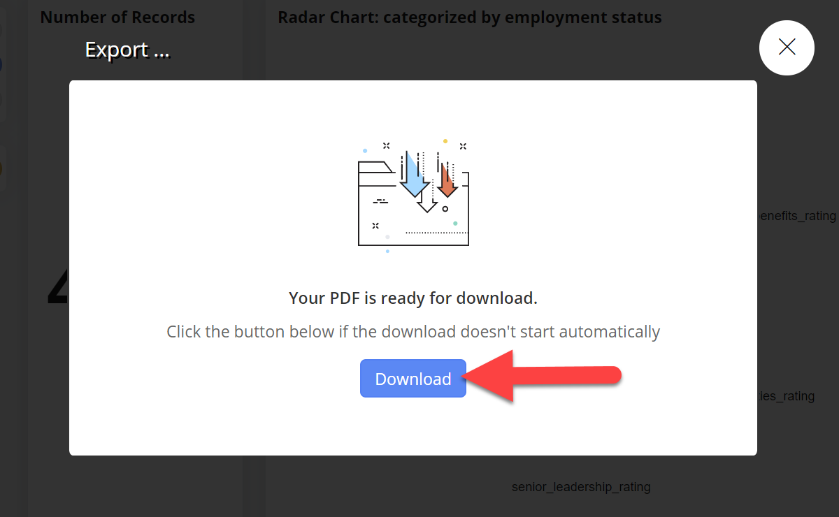 Modal informing Stratifyd user the PDF file is ready for download